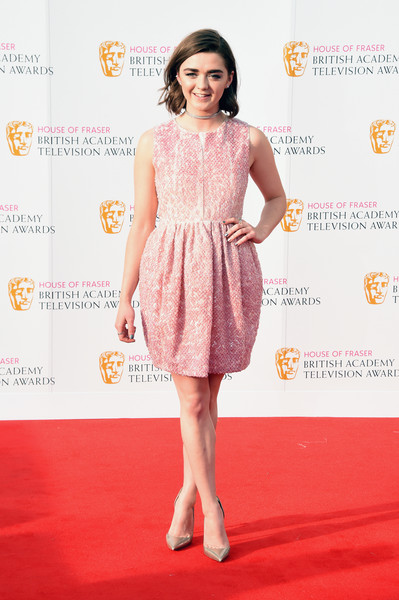 Maisie Williams Sequin Dress [clothing,red carpet,dress,cocktail dress,fashion model,carpet,pink,premiere,fashion,flooring,maisie williams,england,london,royal festival hall,house of fraser,british academy television awards]