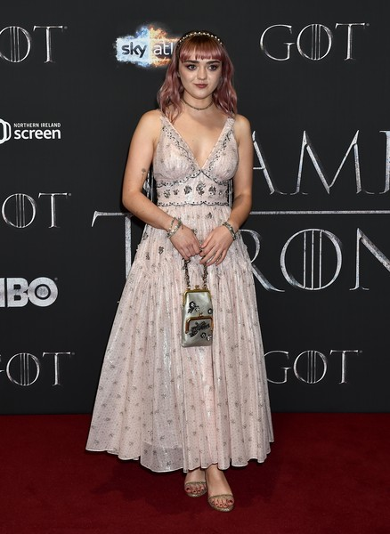 Maisie Williams Satin Purse [game of thrones,season,clothing,dress,shoulder,red carpet,hairstyle,fashion,carpet,gown,premiere,flooring,red carpet arrivals,carpet,maisie williams,red carpet,clothing,belfast,northern ireland,screening,maisie williams,game of thrones,arya stark,game of thrones - season 8,71st primetime emmy awards,hbo,actor,primetime emmy award for outstanding supporting actress in a drama series,red carpet]