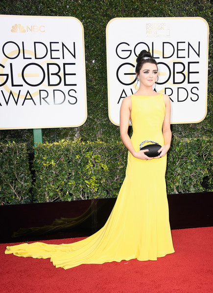 Maisie Williams Satin Purse [yellow,carpet,flooring,red carpet,gown,dress,shoulder,fashion,fashion model,haute couture,arrivals,maisie williams,beverly hills,california,the beverly hilton hotel,golden globe awards]