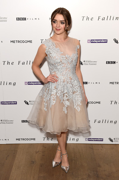 Maisie Williams Evening Pumps [the falling,cocktail dress,dress,clothing,fashion model,shoulder,fashion,lady,hairstyle,joint,a-line,red carpet arrivals,maisie williams,london,england,ham yard hotel,gala screening,gala screening]