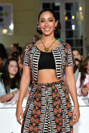 Oona Chaplin attended the La Vida Inesperada premiere wearing a beautifully patterned set with black crop top.