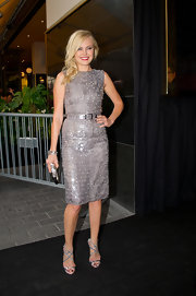 Malin Akerman shined in this silver paillette cocktail dress at the Swedish premiere of 'Rock of Ages.'