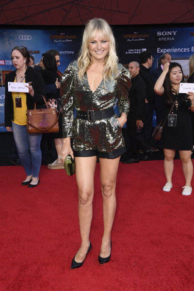 Malin Akerman Romper [red carpet,carpet,clothing,flooring,premiere,event,leg,thigh,shorts,arrivals,malin akerman,spider-man far from home,tcl chinese theatre,california,hollywood,sony pictures,premiere]