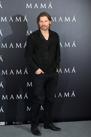 Nikolaj Coster-Waldau looked dark and mysterious at the 'Mama' premiere in a black suede jacket.