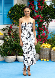 Thandie Newton looked playfully chic in a strapless portrait-print dress by Michael Kors at the UK premiere of 'Mamma Mia! Here We Go Again.'