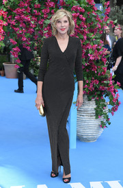 Christine Baranski looked sophisticated in a micro-beaded wrap gown at the world premiere of 'Mamma Mia! Here We Go Again.'