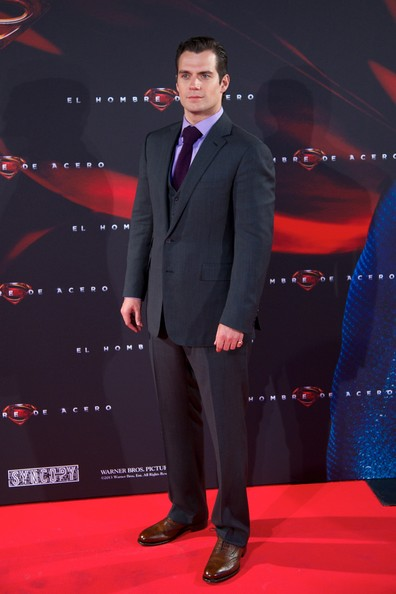 Henry Cavill donned another dapper suit at the 'Man of Steel' premiere in Madrid, when he wore this two-button, notch-lapel suit.