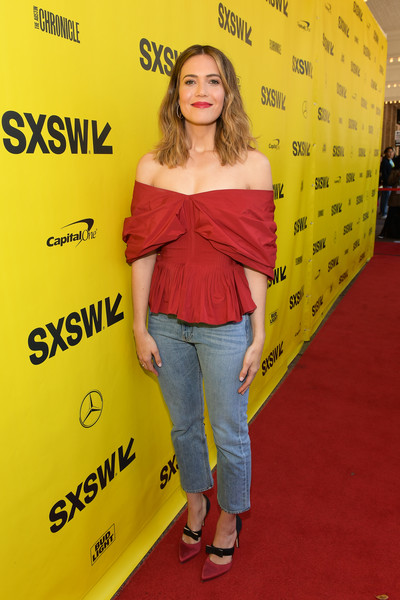 Mandy Moore Classic Jeans [this is us,yellow,red carpet,premiere,carpet,flooring,style,mandy moore,austin,texas,paramount theatre,sxsw conference,festivals]