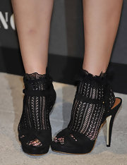 Micky Green showed off a suede pair of platform sandals while attending Mango's new collection launch.