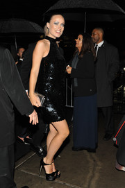 Olivia Wilde looked disco-ready in a little black paillette dress while attending a Met Gala after-party.