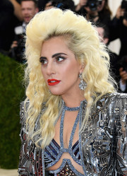 Lady Gaga chose a vibrant shade of red for her lips.
