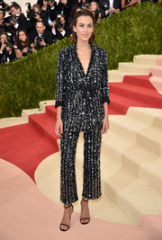 Alexa Chung looked oh-so-cool in a sequined pantsuit by Thakoon during the Met Gala.