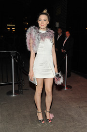 Saoirse Ronan donned a pair of silver platform sandals and a shorter version of her Met Gala dress for an after-party.