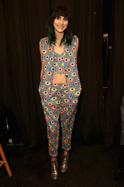 Langley Fox showed off her quirky style with this three-piece eye-print pantsuit during the Mara Hoffman fashion show.