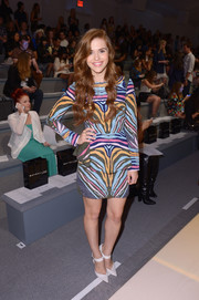 Holland Roden showed off her exuberant style with this multicolored tiger-print peplum dress during the Mara Hoffman fashion show.