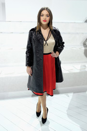 Odeya Rush paired a black patent coat with a two-tone cocktail dress for the Marc Jacobs fashion show.