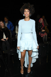 Kerry Washington attended the Marc Jacobs Fall 2019 show wearing a pastel-blue crewneck sweater from the label.