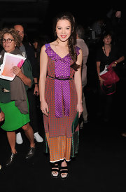 Hailee Steinfeld wore this mixed print dress with a home-made feel to the Marc Jacobs show.