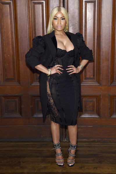 Nicki Minaj tied her look together with a pair of studded gladiator heels.