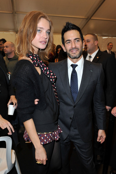 Marc Jacobs Spiked Hair [ready to wear,suit,event,formal wear,fashion,premiere,tuxedo,white-collar worker,tie,fashion design,smile,winter 2011,marc jacobs,natalia vodianova,pfw,ready to wear - fall,part,l-r,louis vuitton,show]