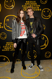 Kaia Gerber layered a striped blazer over a graphic tee for the Marc Jacobs Redux Grunge Collection party.