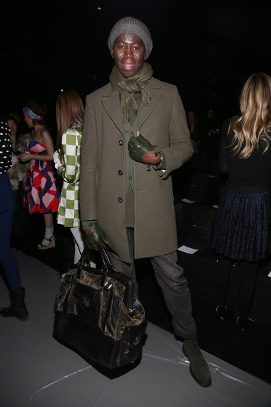 J. Alexander toned down his look for the Marc by Marc Jacobs runway show with this green wool coat.