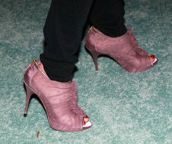 Marcia Gay Harden Cutout Boots [cinema verite,footwear,high heels,pink,leg,shoe,green,red,human leg,foot,ankle,arrivals,marcia gay harden,shoe detail,paramount theater,california,hollywood,hbo films,premiere,premiere]