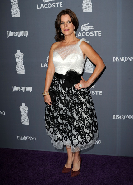 Marcia Gay Harden Pumps [clothing,dress,shoulder,cocktail dress,fashion model,fashion,premiere,strapless dress,carpet,hairstyle,marcia gay harden,lacoste - arrivals,lacoste,hotel,california,beverly hills,the beverly hilton,sponsor,costume designers guild awards]
