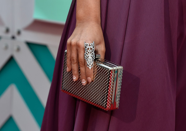 Maren Morris Box Clutch [finger,nail,fashion,pink,turquoise,fashion accessory,ring,jewellery,magenta,hand,maren morris,arrivals,fashion detail,las vegas,nevada,mgm grand garden arena,academy of country music awards]