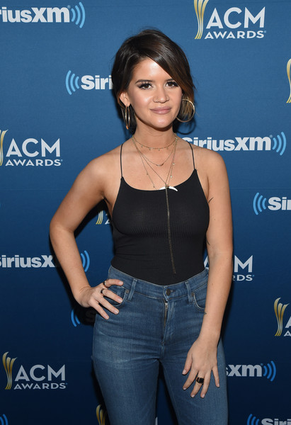 Maren Morris Wide Band Ring [the highway channel broadcasts backstage leading up to the american country music awards,premiere,long hair,electric blue,black hair,waist,maren morris,t-mobile arena,las vegas,nevada,siriusxm,the highway channel,academy of country music awards]