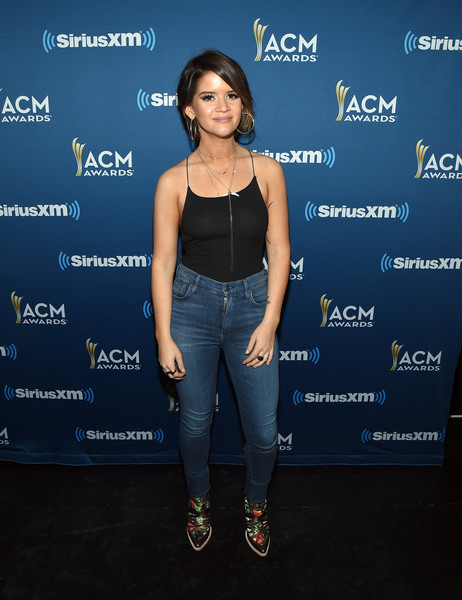 Maren Morris High-Waisted Jeans [the highway channel broadcasts backstage leading up to the american country music awards,clothing,fashion,footwear,electric blue,carpet,premiere,event,jeans,maren morris,t-mobile arena,las vegas,nevada,siriusxm,the highway channel,academy of country music awards]