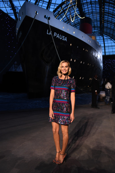 Margot Robbie Sequin Dress [fashion,clothing,beauty,snapshot,fun,dress,photography,automotive design,design,fashion design,collection,margot robbie,paris,france,le grand palais,chanel cruise 2018]