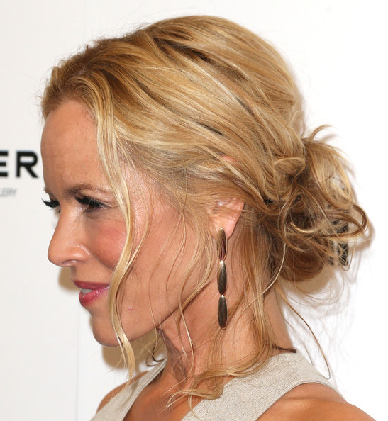 Maria Bello Gold Dangle Earrings [hair,blond,chin,human hair color,hairstyle,forehead,layered hair,long hair,neck,hair coloring,arrivals,third person,maria bello,california,hollywood,linwood dunn theater pickford center for motion study,sony picture classics,premiere,premiere]