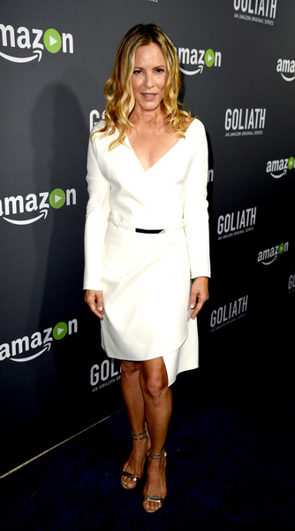 Maria Bello Wrap Dress [clothing,dress,white,cocktail dress,shoulder,fashion model,hairstyle,fashion,carpet,footwear,red carpet,maria bello,goliath,west hollywood,california,the london,amazon,premiere,premiere screening]
