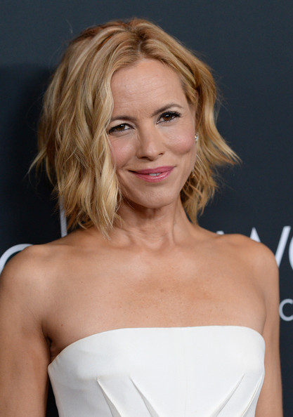 Maria Bello Short Wavy Cut [anne hathaway,maria bello,arrivals,elyse walker presents the pink party,hair,blond,face,hairstyle,shoulder,beauty,chin,lip,eyebrow,long hair,santa monica,california,barker hangar]