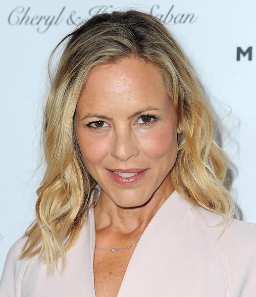 Maria Bello Medium Wavy Cut [a gala to honor avi lerner and millennium films,hair,face,blond,hairstyle,eyebrow,chin,lip,skin,nose,long hair,arrivals,avi lerner,maria bello,millennium films,angela weiss,honor,beverly hills,afp,gala]