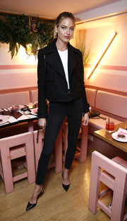 Martha Hunt was classic and chic in a cropped black pea coat at the Rodial VIP dinner.