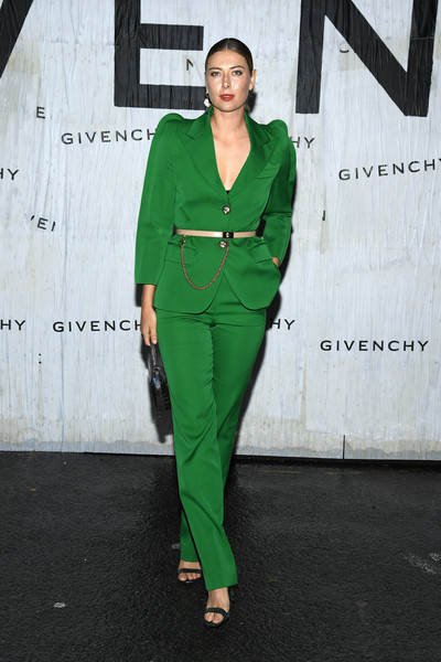Maria Sharapova Pantsuit [green,clothing,suit,pantsuit,fashion,street fashion,outerwear,formal wear,fashion model,fashion design,summer 2020,maria sharapova,front row,part,givenchy womenswear spring,paris,france,givenchy,paris fashion week,show]