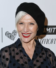 Maye Musk looked Parisian-chic with her black beret at the 2018 Marie Claire Fresh Faces event.