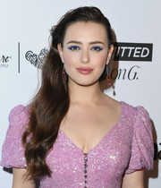 Katherine Langford went for a playful beauty look with a thick blue cat eye.