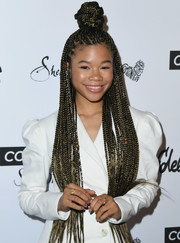 Storm Reid styled her long tresses into a multi-braided 'do with a top knot for the 2018 Marie Claire Fresh Faces event.