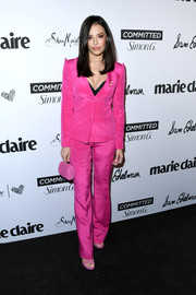 Chloe Bridges brought a gorgeous pop of color to the 2018 Marie Claire Fresh Faces event with this fuchsia pantsuit by Gretel Z.
