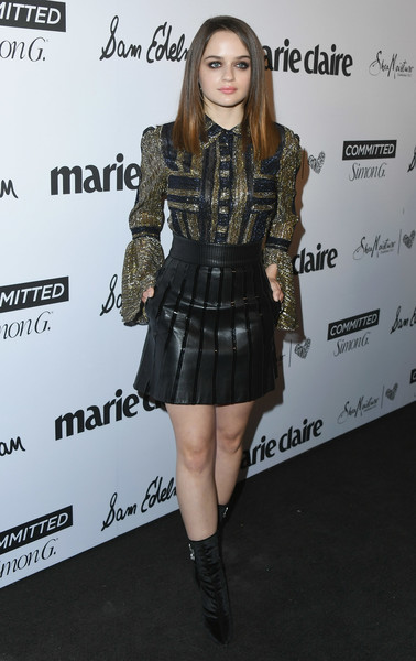 Joey King rocked an embellished gold and black blouse by Abodi at the 2018 Marie Claire Fresh Faces event.