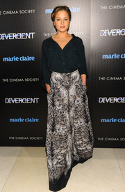 Margarita Levieva kept it basic up top in a navy button-down during the 'Divergent' screening in NYC.
