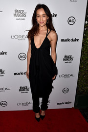 Maggie Q had a classic look with a black jumpsuit that she paired with pointed pumps at the Marie Claire's Image Maker Awards.