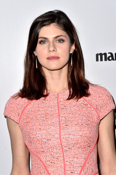 Alexandra Daddario styled her hair in a sleek, layered cut at Marie Claire's Image Maker Awards.