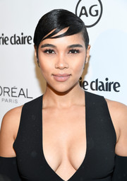 Alexandra Shipp looked oh-so-cool with her slicked-down 'do and sculpted bangs during Marie Claire's Image Maker Awards.