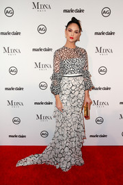 Eiza Gonzalez kept it ladylike in a monochrome print gown by Alex Perry at the 2018 Image Makers Awards.