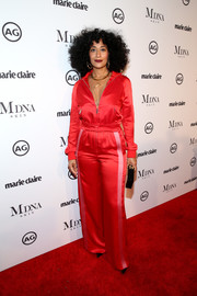 Tracee Ellis Ross went the sporty-chic route in a red track jacket by Valentino at the 2018 Image Makers Awards.