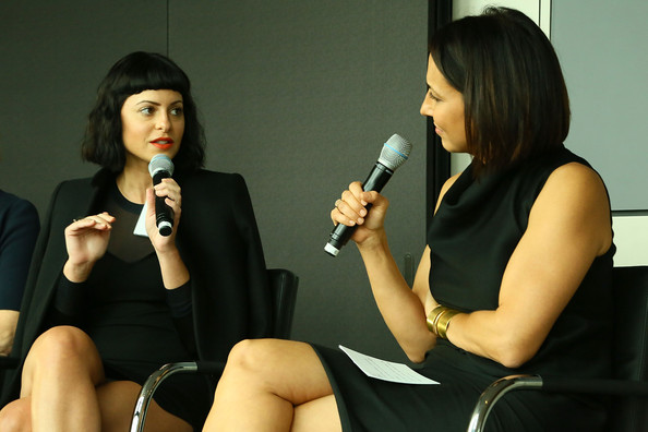 More Pics of Sophia Amoruso Mini Dress (1 of 15) - Sophia Amoruso Lookbook - StyleBistro [event,conversation,talent show,performance,singer,singing,sitting,thigh,black hair,marie claires power women lunch,sophia amoruso,editor-in-chief,marie claire,anne fulenwider,l-r,new york city,loreal,nasty gal]